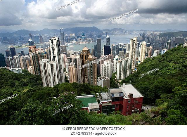 Hong Kong skyline. Panoramic view of Hong Kong and Kowloon from Victoria Peak Tower. Hong Kong, China, SAR