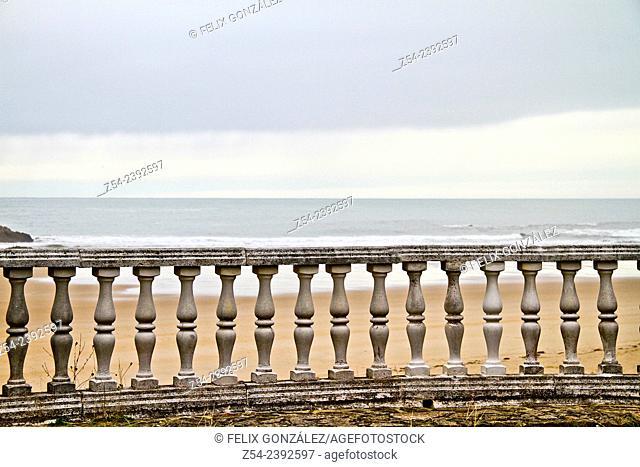 Balustrade at La Franca beach, Asturias, Spain