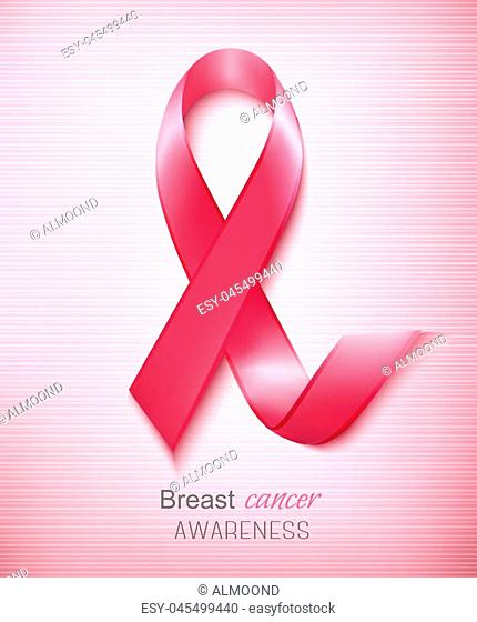 Breast cancer awareness ribbon on a pink background. Vector