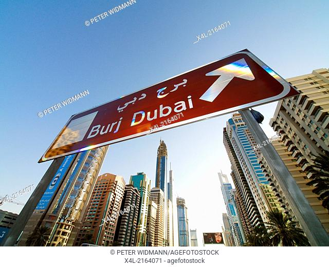 Dubai, Sheik Zayed Road, modern skyline, sign Burj Dubai, United Arab Emirates