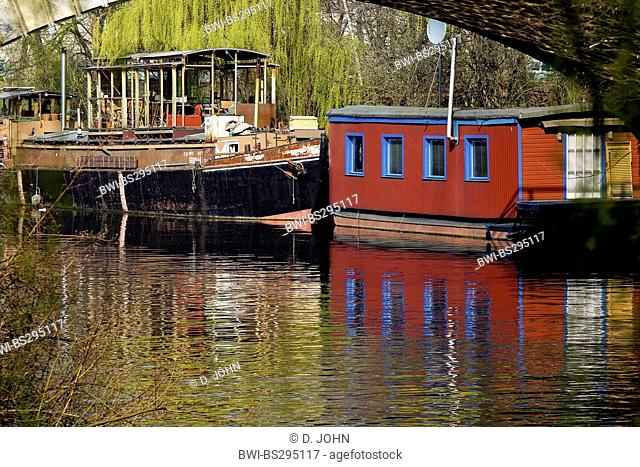 house boat on the Landwehr Canal, Germany, Berlin