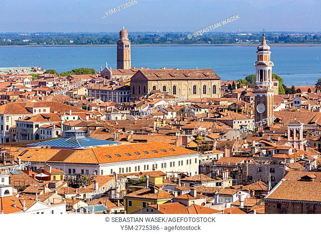 Venice, aerial view from the Campanile di San Marco, Venice, Veneto, Italy, Europe
