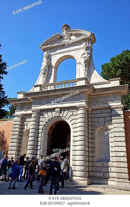 Entrance to Horti Farnesiani originally the Domus Tiberiana one of the oldest botanical gardens in Europe