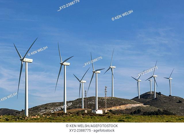 Wind turbines near Ardales, Malaga Province, Andalusia, Spain