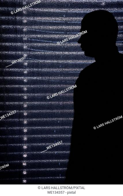 Ominous shadow of man in front of window with closed blinds