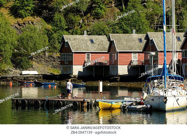 Flåm Harbour, Flåmsdalen, at the inner end of the Aurlandsfjorden, a branch of Sognefjorden, Sogn og Fjordane, Fjords, Norway