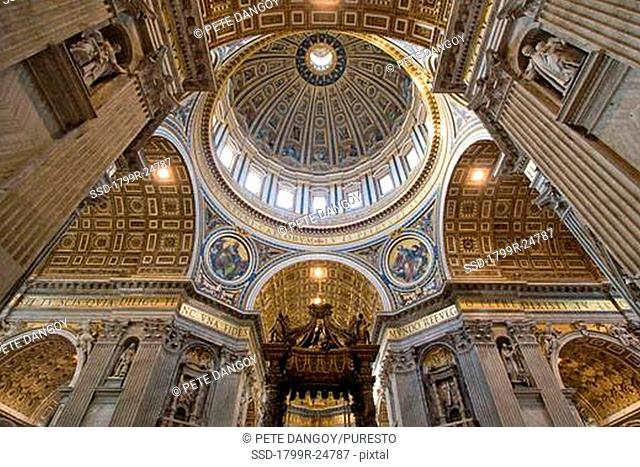 Architectural detail of the ceiling of a basilica, St Peter's Basilica, Vatican City