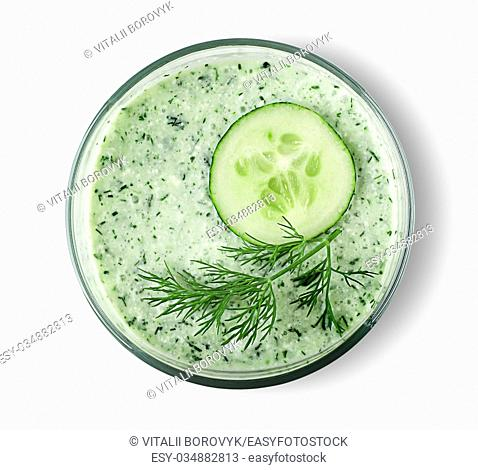 Vegetable cocktail. Cucumber smoothie close up on white background