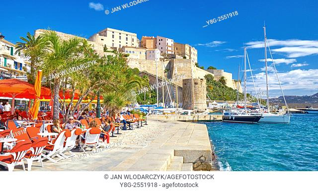 Calvi, view at promenade and old Citadel, Balagne, Corsica Island, France