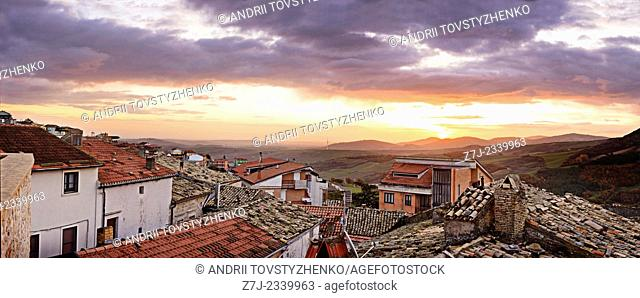 Panoramic view on the village of Castelluccio. Italy