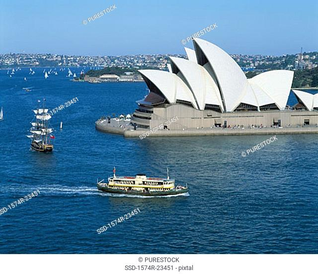 Opera house on the waterfront, Sydney Opera House, Sydney, New South Wales, Australia