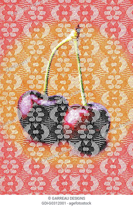 Lace layer over cherry image