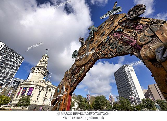 Auckland New Zealand. Aotea Square, the vibrant heart of the city and the Town Hall