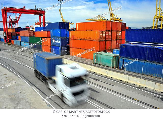Transportation of containers in the port of Barcelona, Barcelona, Catalonia, Spain