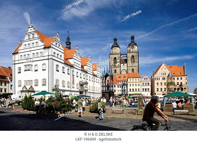 Market square with town hall, St. Mary's church and monuments of Luther and Melanchthon, Wittenberg, Saxony Anhalt, Germany, Europe