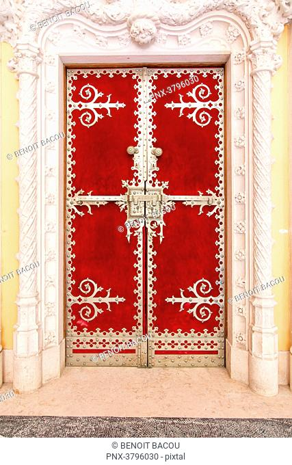 View of a door of the Palace of Pena, Sintra, Lisbon area, Portugal