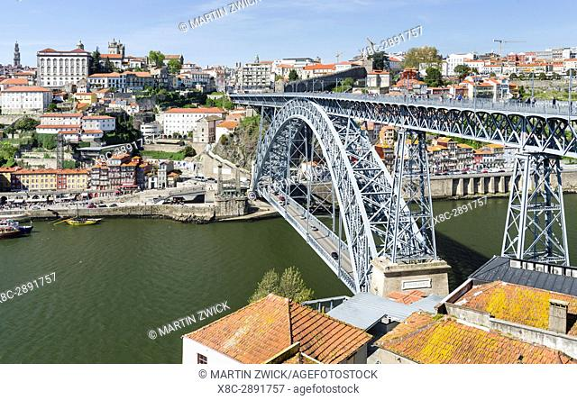 View from Vila Nova de Gaia towards Porto with the old town and the bridge Ponte Dom Luis I . City Porto (Oporto) at Rio Douro in the north of Portugal