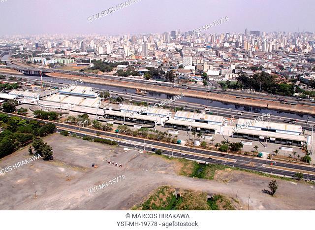 Aerial view, Sambadrome, Parque Anhembi, urban city, São Paulo, Brazil