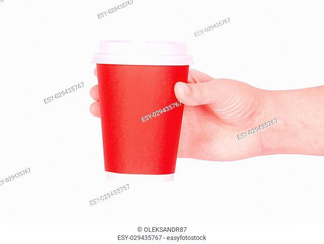 Disposable red cup of coffee in hand
