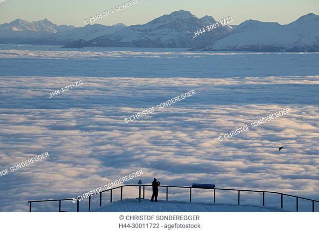 Blick vom Hohen Kasten über das Nebelmeer