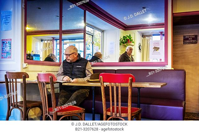 France, Auvergne, Cantal, in a café at Maurs