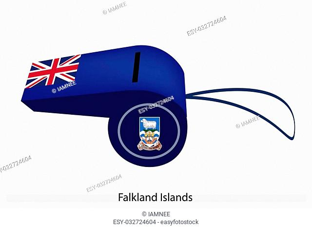An Illustration of A Union Jack and Coat of Arms on Blue Field of The Falkland Islands Flag on A Whistle, The Sport Concept and Political Symbol