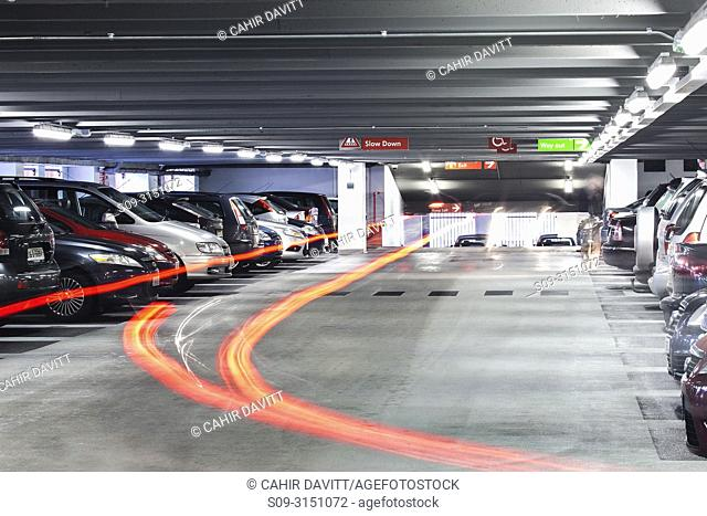 Light trails in the interior of Q-Park Eyre Square car park, Galway, Co. Galway, Ireland