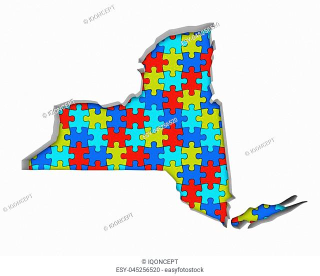 New York NY Puzzle Pieces Map Working Together 3d Illustration