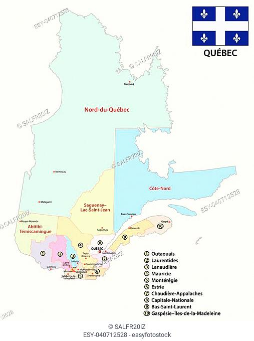 Province quebec administrative and political vector map with flag