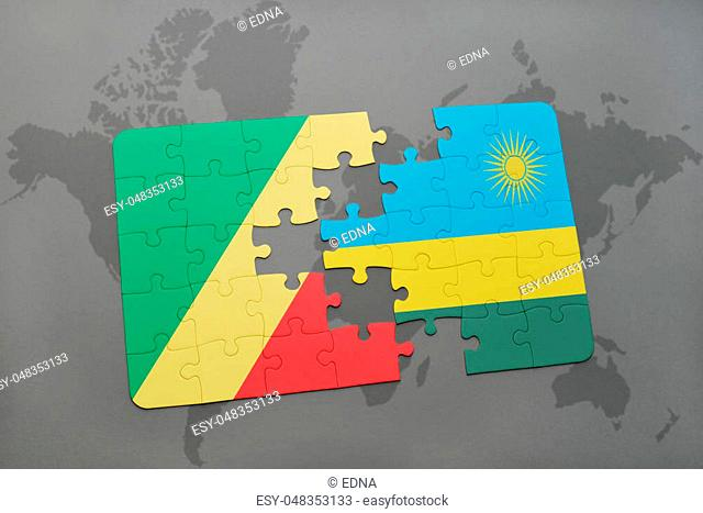 puzzle with the national flag of republic of the congo and rwanda on a world map background. 3D illustration