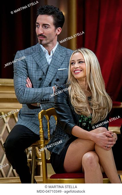 Actress Martina Stella with her dance teacher and dancer Samuel Peron at the press conference of the RAI TV show Ballando con le stelle in Auditorium Rai Foro...