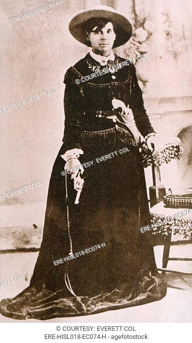 Belle Starr 1848-1889, photographed holding a revolver, was an active Western outlaw in Indian Territory Oklahoma the 1870s and 1880s
