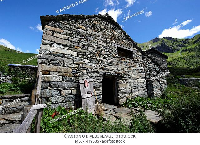Walser stable for sheeps and cows at Alpe Campo  Alagna Valsesia municipality  Province of Vercelli  Piedmont  Italy