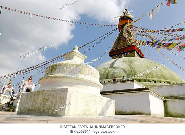 Stupa with prayer flags, eyes of Buddha, Boudhanath, Kathmandu, Nepal, Asia