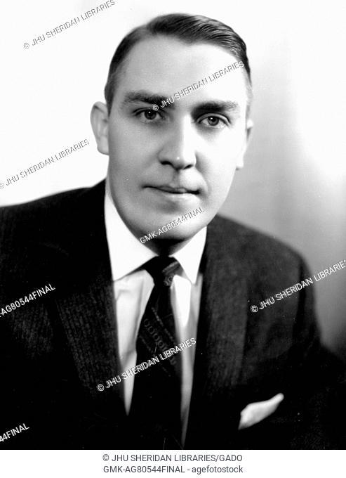 Chest up portrait of energy expert Joseph Michael Dukert, 1960