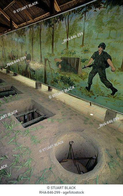 Examples of booby traps used during Vietnam war, Cu Chi Tunnels, near Ho Chi Minh City Saigon, Vietnam, Indochina, Southeast Asia, Asia