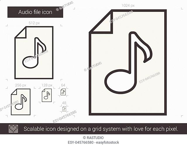 Audio file vector line icon isolated on white background. Audio file line icon for infographic, website or app. Scalable icon designed on a grid system