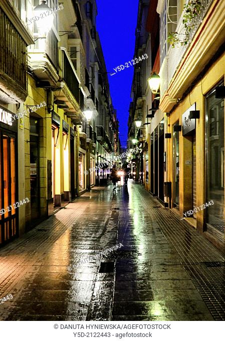 Calle Columela by night, Cadiz, Andalusia, Spain