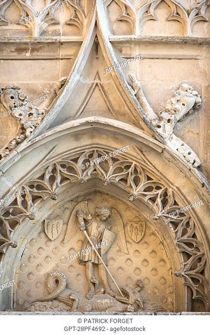 THE ARCHANGEL SAINT MICHAEL BRINGING DOWN THE DRAGON, FACADE OF THE CHATEAU DE MAINTENON, EURE-ET-LOIR (28), FRANCE