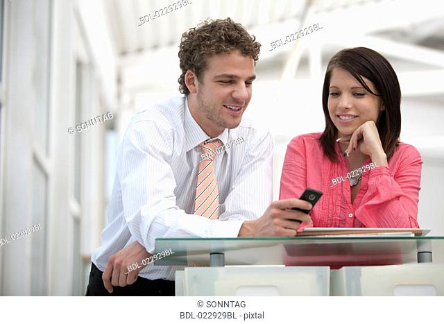 portrait of young businessman and businesswoman