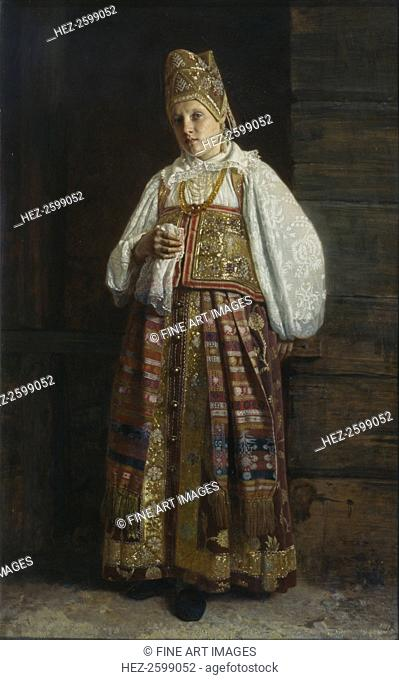 Woman from Kursk in traditional Russian clothing, 1871. Found in the collection of the State Tretyakov Gallery, Moscow