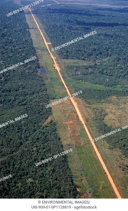 DEFORESTATION, BRAZIL. Amazon. Vicinity Porto Velho. Deforestation along the High-way BR-364. . The BR-364 funnelled migration from the desertic