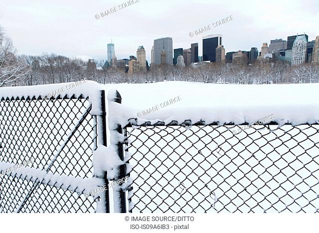 Fence, snowy urban park and skyline