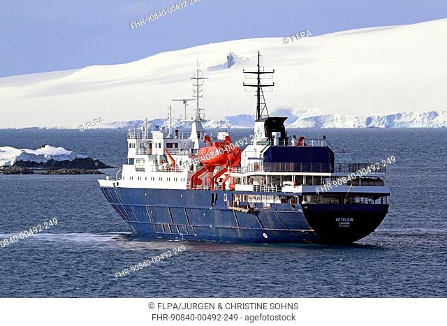 MV Ortelius ice-strengthened cruise ship at sea, Weddell Sea, Antarctica, November