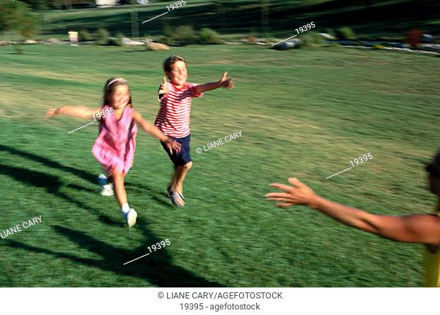 Kids running to mother