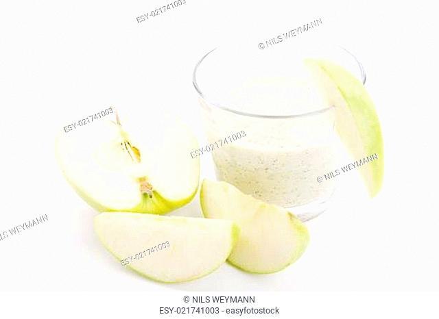fresh green apple yoghurt shake isolated