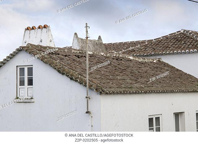 Rooftops Terceira island landscape Azores, Portugal