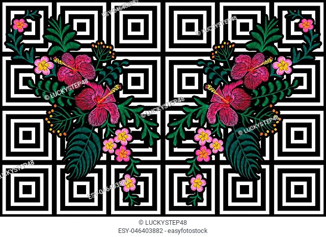 Flower reflection embroidery on black white seamless stripe background. Fashion print decoration plumeria hibiscus palm leaves