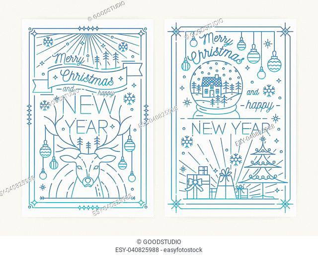 Set of Merry Christmas and Happy New Year festive greeting card or postcard templates with holiday decorations drawn with blue contour lines on white background