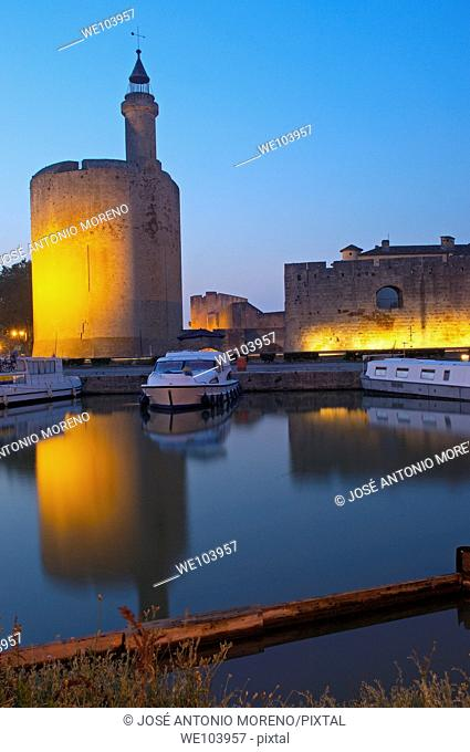 Constance Tower at dawn, Aigues-Mortes. Petite Camargue, Gard, Languedoc-Roussillon, France